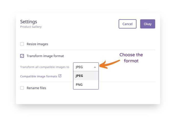 Transform image format