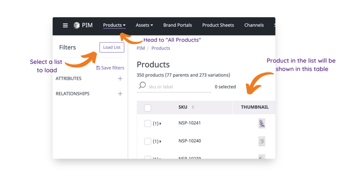 How to load a product list
