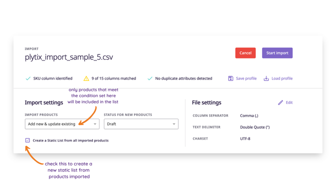 Create a static product list from import