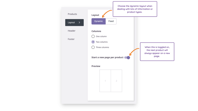 Product Sheets - Dynamic Layout