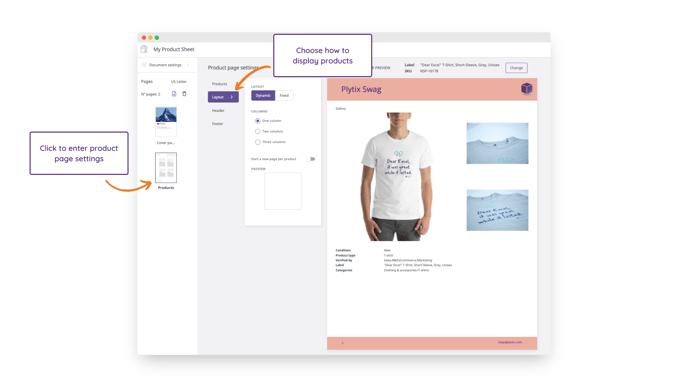 Product Sheets Designer - Layout