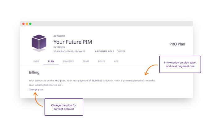account settings - plan - billing