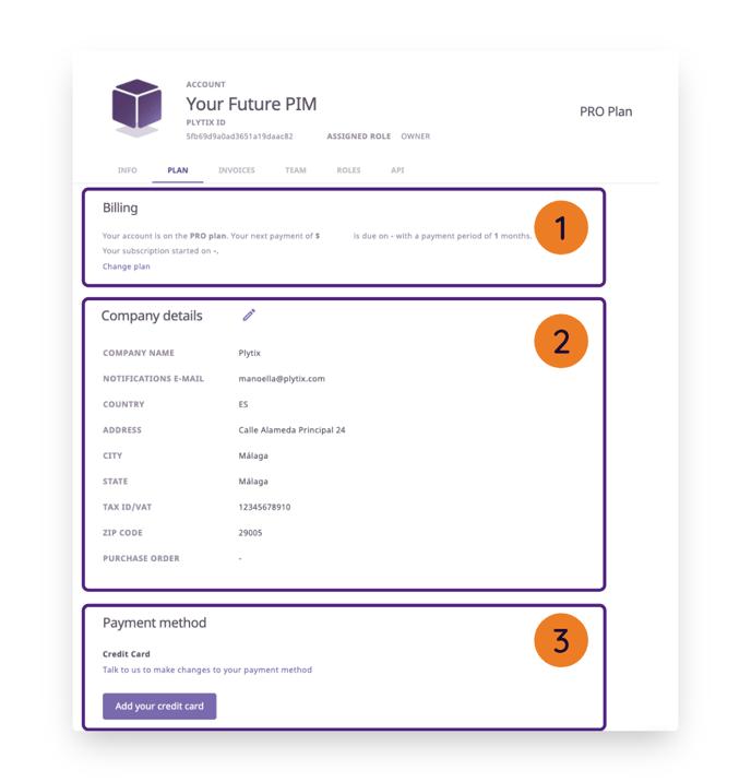 account settings - plan