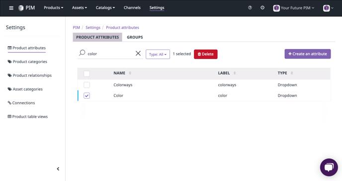 delete attribute in plytix
