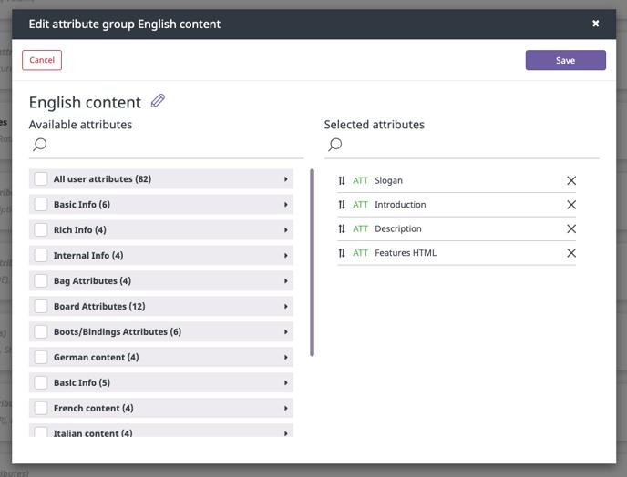 edit attribute group