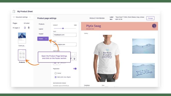 product sheet designer - footer