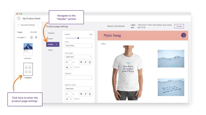 product sheet designer - header