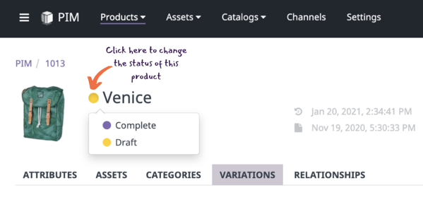 product status - product detail page