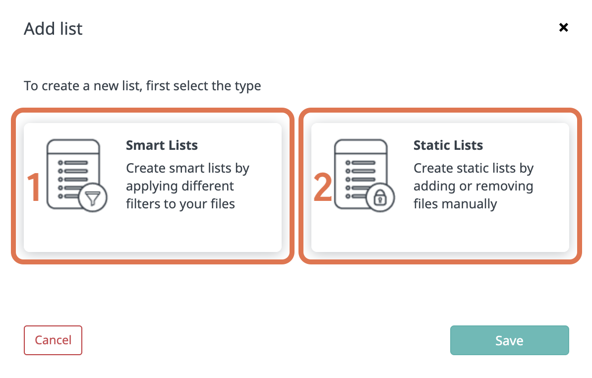 Creating Smart or Static lists-1