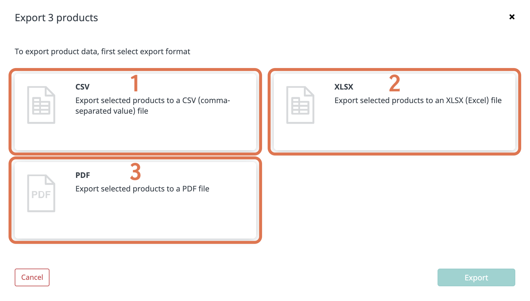 Export product data - select format