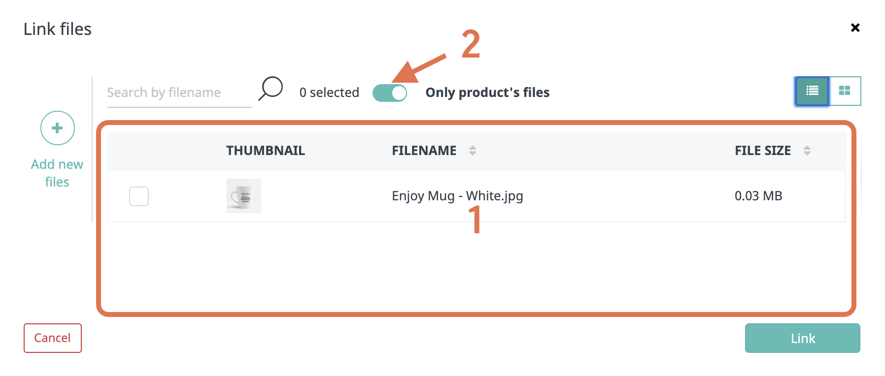 Linking files within the product or from the database-1