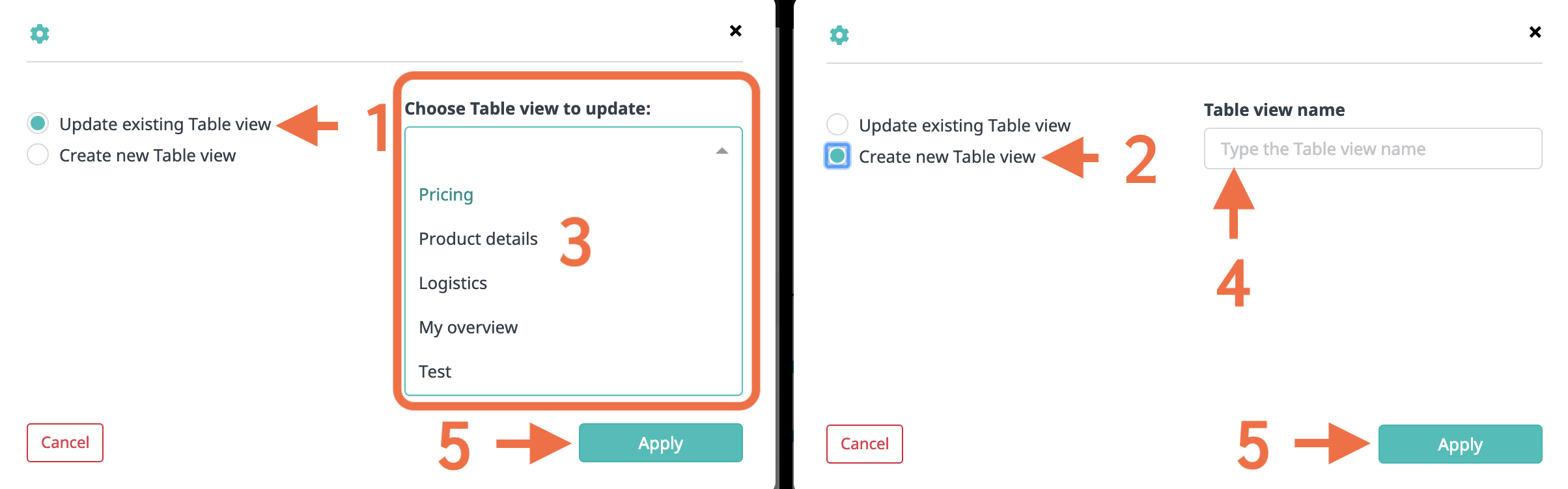Update or create table view
