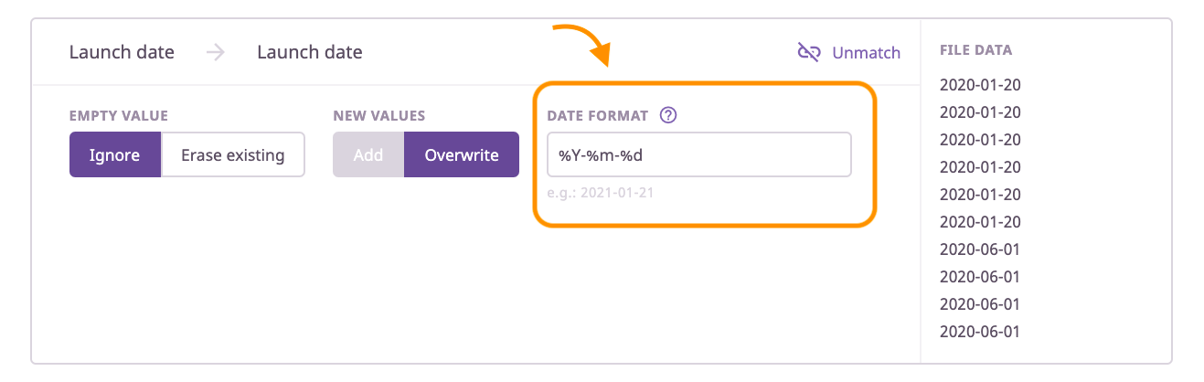 Configuring the date format when importing product data
